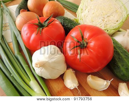 Composition of vegetables and greens.