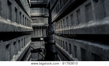 Passage inside a maze of concrete