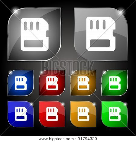 Compact Memory Card Icon Sign. Set Of Ten Colorful Buttons With Glare. Vector