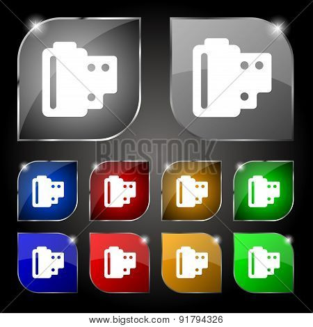 35 Mm Negative Films Icon Sign. Set Of Ten Colorful Buttons With Glare. Vector