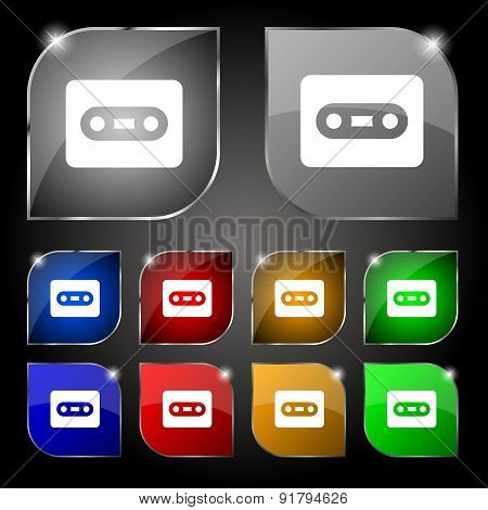 Cassette Icon Sign. Set Of Ten Colorful Buttons With Glare. Vector