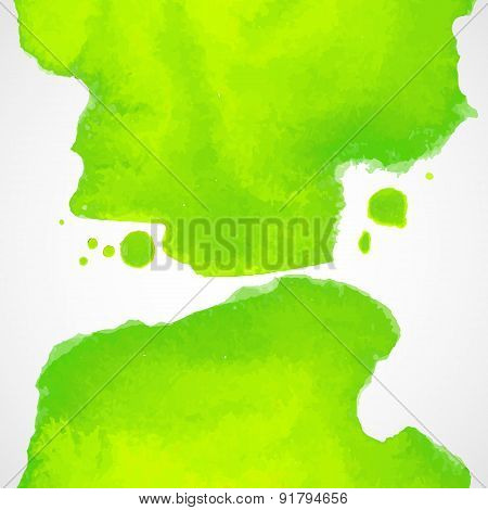 Green Watercolor Vector Background With Splashes