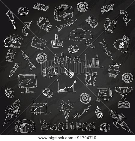 Business strategy icons blackboard chalk sketch