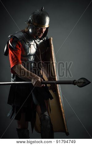 brave warrior in armor with a shield and a spear