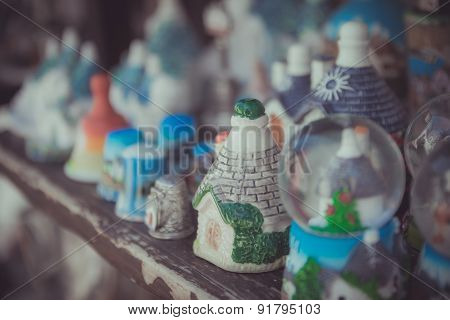 Close up of a ceramic Trulli houses