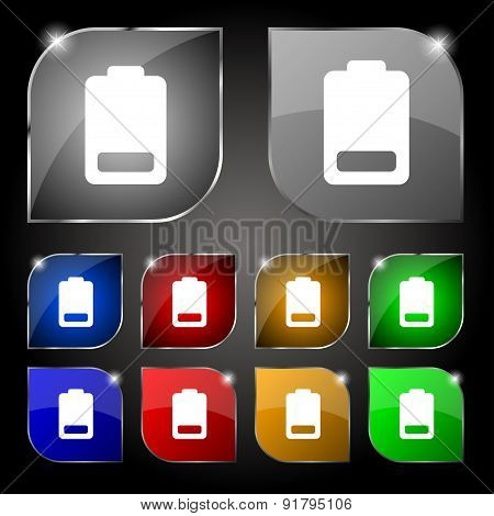 Battery Low Level, Electricity Icon Sign. Set Of Ten Colorful Buttons With Glare. Vector