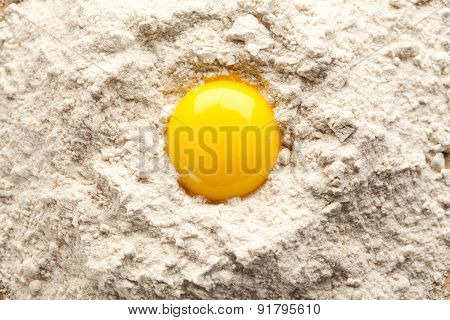 Egg Yolk On Buckwheat Flour.