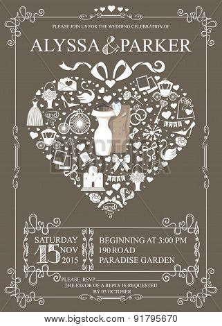 Wedding invitation with heart composition.Wedding clothes