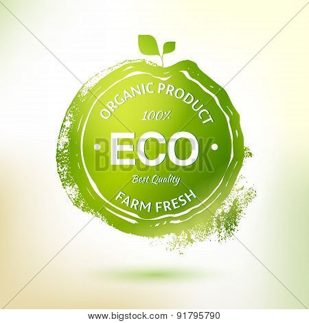 Green Stamp Drawing Label For Organic Product