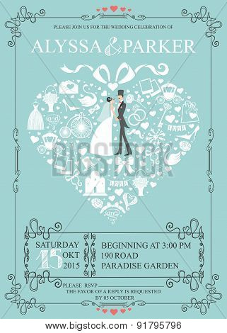 Wedding invitation with heart composition.Bride,groom