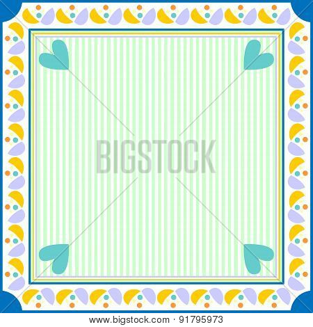 Colorful background with hearts stripes and dots