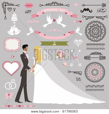 Wedding invitation decor set with Kissing stand couple