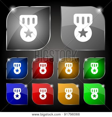 Award, Medal Of Honor Icon Sign. Set Of Ten Colorful Buttons With Glare. Vector