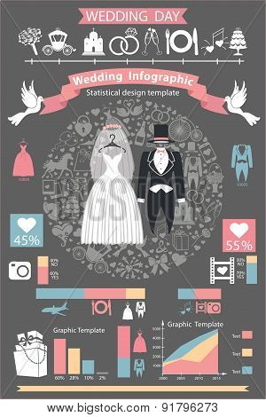 Wedding infographics set.Retro wedding clothing,icons,diagramm