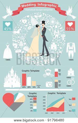 Wedding infographics set.Retro bride,groom,icons wreath