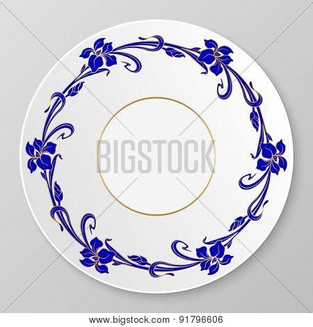 Vector Art Nouveau Decorative Plate.