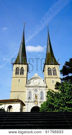 The Front View Of Hofkirche Cathedral Lucerne
