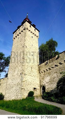 Tower Of Historical Castle In Lucerne
