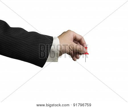 Male Hand Holding Red Pushpin