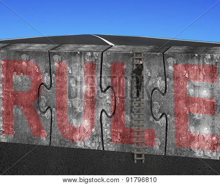 Man Climbing Ladder Puzzles Concrete Wall Red Rule Word Sky