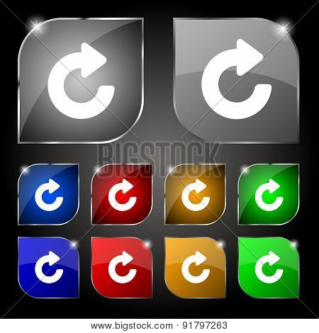 Upgrade, Arrow Icon Sign. Set Of Ten Colorful Buttons With Glare. Vector