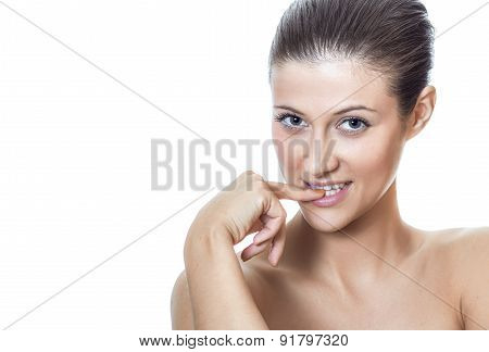 Beauty Woman Biting Her Finger With Expressive Close-up Face, Isolated On White Background - Studio