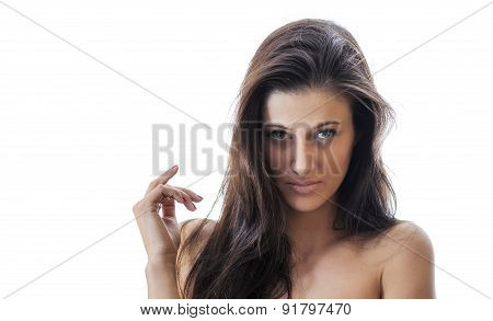 Provocative Young Sexy Woman, Isolated On White. Close Up Of Sensuality Topless Girl