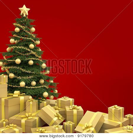 Christmas Tree Isolated On Red