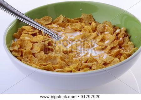 Plate Of Krispy With Milk Closeup