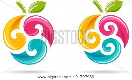 Colorful berries. Icons.