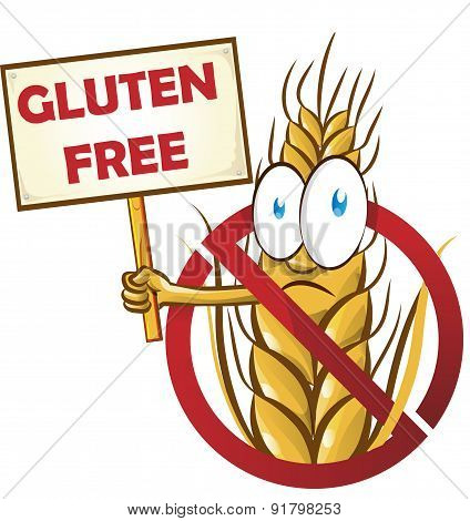 Wheat Cartoon With Signboard Isolated