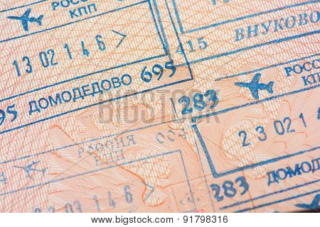 Passport page with the immigration control stamps.