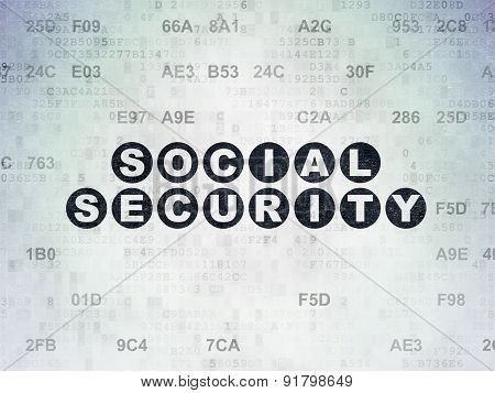Protection concept: Social Security on Digital Paper background