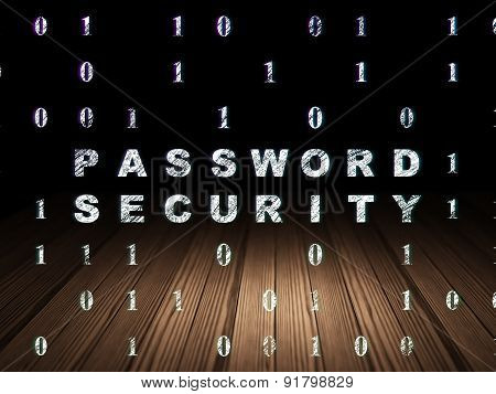 Protection concept: Password Security in grunge dark room