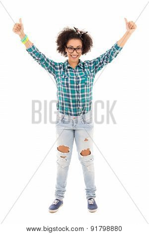 Happy Beautiful African American Teenage Girl Thumbs Up Isolated On White