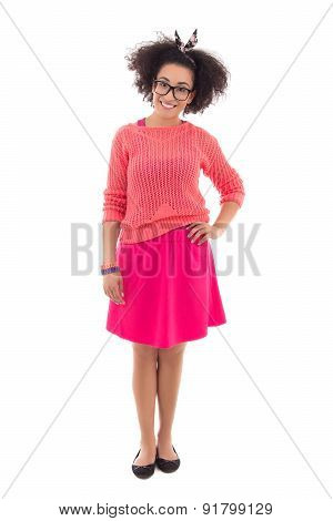 Pretty African American Teenage Girl In Pink Posing Isolated On White