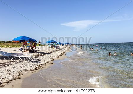 People Relax At The Crandon Park Beach