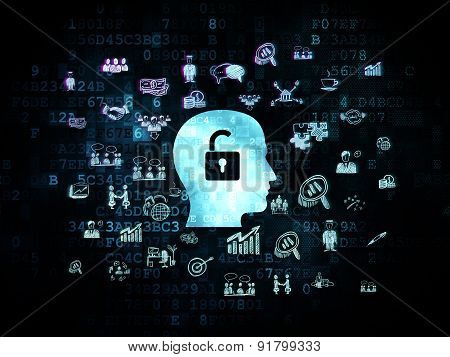 Finance concept: Head With Padlock on Digital background