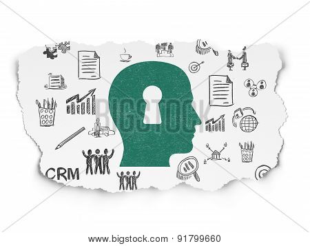 Finance concept: Head With Keyhole on Torn Paper background