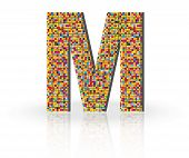 pic of letter m  - Colorful 3D Alphabet Letter M with reflection on white glossy surface - JPG