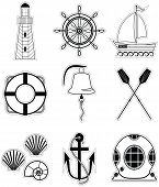stock photo of rudder  - Nautical elements  1 including  boat bell - JPG