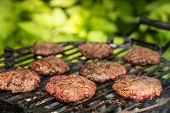 pic of burger  - Burger patties on a grill - JPG