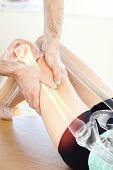 image of physiotherapist  - Digital composite of Highlighted bones of woman at physiotherapist - JPG