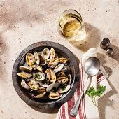 picture of clam  - Shells vongole venus clams in metal dish and wine on stone background - JPG