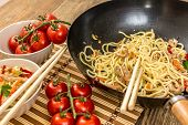 foto of chinese food  - Chinese traditional food noodles with chicken meat and vegetables - JPG