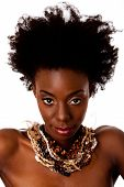 stock photo of black curly hair  - Beautiful face of an African tribal woman with Afro curly hair bare shoulders and smooth brown skin wearing Earth - JPG