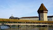 picture of chapels  - historical wooden Chapel Bridge and tower in Lucerne Switzerland - JPG