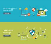 image of social-security  - Set of flat design vector illustration concepts for data protection - JPG
