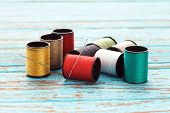 picture of wood craft  - needle colorful thread needlework embroidery tailor craft repair background blue wood teak still life vintage - JPG