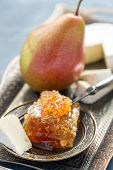 pic of brie cheese  - Brie cheese honey and pear on a metal tray - JPG